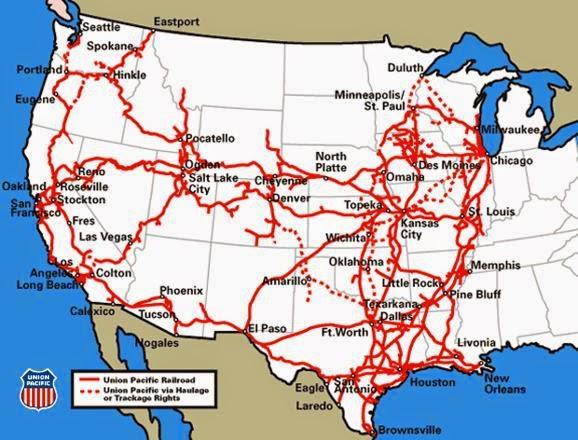 Översiktlig bild över Union Pacific Corporation (UNP) järnvägsnät
