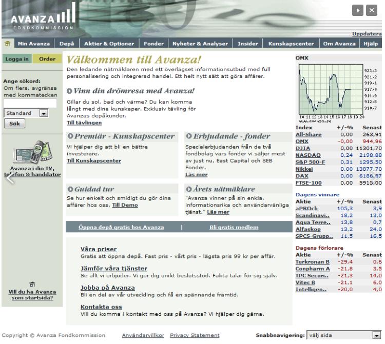 Så här såg Avanzas site ut när det begav sig