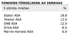 De fem största innehaven för Nordnets superfond Norge