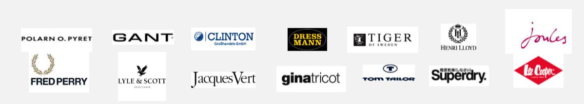 Några av Nilörngruppens kunder inom klädindustrin